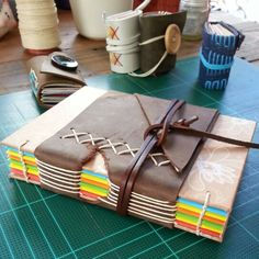 leather band on handmade book