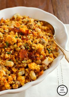 For thanksgiving Apple, Sausage & Cornbread Dressing - Fork Knife Swoon - Fork Knife Swoon Gf Recipes, Side Dish Recipes, Cooking Recipes, Side Dishes, Recipies, Healthy Recipes, Main Dishes, Thanksgiving Recipes, Holiday Recipes