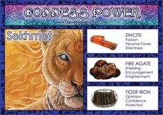 Goddess Power: Sekhmet - Stones: Zincite, Fire Agate and Tiger Iron