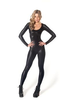 a54f981e1b Wet Look Long Sleeve Catsuit