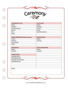 Make sure you have all the chairs and flowers you need, and that you have something old, something new, something borrowed, and something blue with this Wedding Planner Ceremony checklist. Free to download and print