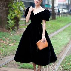 abaday Limited Edition Black Velvet Dress With Puff Sleeves Fashion Clothing Retro Fashion 50s, Vintage Fashion, Cute Fashion, Look Fashion, Fashion Styles, Indian Fashion, Fashion Women, Winter Fashion, Fashion Tips