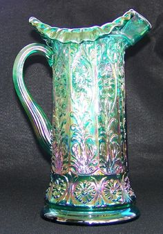 Electric Green Fenton Milady Carnival Glass Pitcher w/Bill Fenton Signature in category Glass:Carnival:Fenton Glass Jug, Glass Pitchers, Cut Glass, Milk Glass, Fenton Glassware, Vintage Glassware, Vintage Pyrex, Fenton Lamps, Vintage Dishes