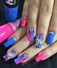 TOP Fotos e Modelos de Unhas Decoradas Fancy Nails, Bling Nails, Trendy Nails, Cute Nails, Diy Nail Designs, Beautiful Nail Designs, Fabulous Nails, Perfect Nails, Romantic Nails