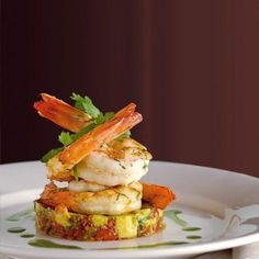 Prawns on Avocado Salsa recipe, brought to you by MiNDFOOD. Prawns on Avocado Salsa recipe, brought to you by MiNDFOOD. Fish Recipes, Seafood Recipes, Gourmet Recipes, Appetizer Recipes, Cooking Recipes, Prawn Recipes, Fish Starter Recipes, Gourmet Appetizers, Wedding Appetizers