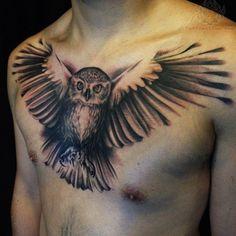 flying owl tattoos on men chest art #31