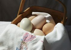 A vintage tea towel and fresh eggs in a basket are the subjects of this still life photograph by @M.M. Anderson #prints #homedecor #photography