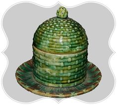 Green Basket Weave Honey Pot  Covered Dish... majolica. The basket weave imitates the woven bee skep.
