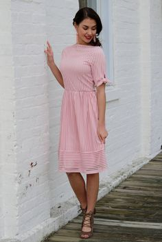 Delaney Pink Striped Lace Midi Dress | Piper Street