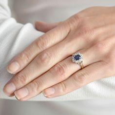 Art Deco 10kt Sapphire & Diamond Ring .70ct