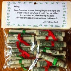 Money gift from grandma Homemade Christmas Gifts, Best Christmas Gifts, Christmas Projects, Holiday Crafts, Holiday Fun, Christmas Holidays, Christmas Decorations, Christmas Carol, Christmas Gifts For Grandma