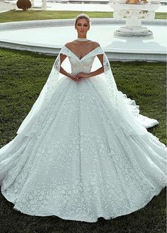 Splendid Lace Off-the-shoulder Neckline Ball Gown Wedding Dresses With Lace Appliques & Beadings NEW! Splendid Lace Off-the-shoulder Neckline Ball Gown Wedding Dresses With Lace Appliques & Beadings Western Wedding Dresses, Cute Wedding Dress, Princess Wedding Dresses, Dream Wedding Dresses, Wedding Gowns, Wedding Venues, Lace Wedding, Wedding Shoes, Princess Bridal