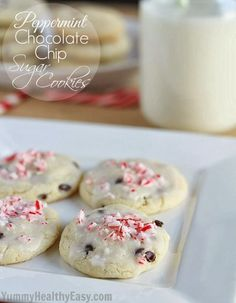 These Peppermint Chocolate Chip Sugar Cookies are delicious sugar cookies but without the work! Easy dough (no-rolling required) and a quick mint glaze on top!