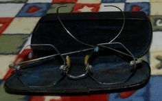 Old Wire Arm Octagon Spectacles with Case 3B by PeggysVintageVariety on Etsy