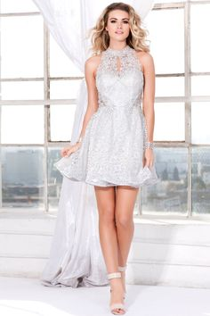Ivory Short Lace A-Line Prom Dress 4083 - Prom 2017 - Collections
