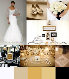 Black, gold, ivory color inspirations.