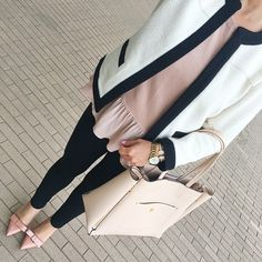 Odette patent leather bow pumps, ponte skinny ankle pants, signature blush tote, textured open jacket, ruffle hem sweater - click the photo for outfit details!