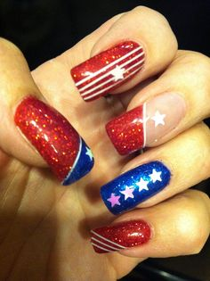 stars+and+stripes+nail+art+designs | July nail art design - blue and red glitter - white holographic stars ...