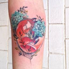 Watercolor Fox Tattoo by Aga Yadou