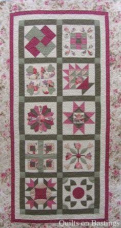 Quilting on sampler quilt