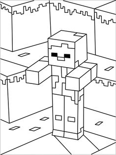 Printable Minecraft Zombie coloring page.