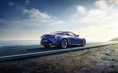 Download wallpapers Lexus LC 500h, 2018, rear view, 4k, sparrow, blue sports coupe, Japanese cars, new LC, Lexus