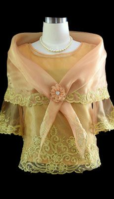 Barongsrus-Gold Kimona with Alampay #5487  $65.00  An ideal formal blouse for mother of the bride, black tie or other special occasions. The kimona style is fully covered in embroidery with a matching panuelo giving this style a touch of real elegance. barongsinthemidwest #filipiniana  #filipiñiana #filipinostyle #filipinofashion #filipinoculture #barongculture #customclothing