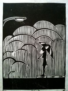 Cloud City Small Woodblock Print. $20.00, via Etsy.