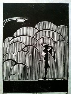 Cloud City Small Woodblock Print. via Etsy.