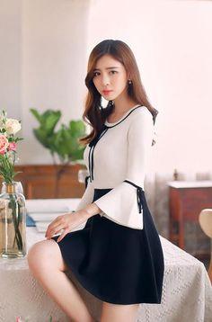 Korean fashion -- Round neck collar knit slim dress - AddOneClothing