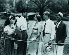 Still of Cary Grant, Shirley Temple, Myrna Loy and Rudy Vallee in The Bachelor and the Bobby-Soxer