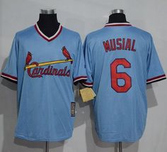 Cardinals #6 Stan Musial Blue Cooperstown Throwback Stitched MLB Jersey