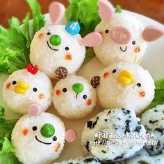 Cute onigiris (rice ball) .