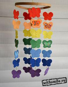 "Весенний мобиль ""Бабочки из фетра"". Mobile felt rainbow butterfly"