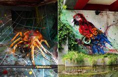 объемный стрит арт, стрит-арт Artur Bordalo, стрит-арт Bordalo II, граффити паук и попугай