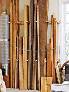 Vertical lumber storage workshop pinterest lumber for Vertical lumber storage rack