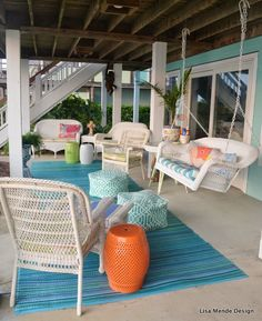 Today's post is Part 1 in a 3 part series of a tour of an amazing beach home! Beach Cottage Style, Beach Cottage Decor, Coastal Decor, Outdoor Areas, Outdoor Rooms, Outdoor Living, Cottage Porch, Dream Beach Houses, Relaxing Places