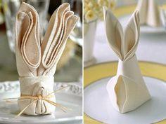 Ideias para o almoço de Páscoa - guardanapos dobrados como coelhinhos