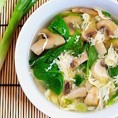 Easy Egg Drop Soup with spinach, mushrooms & green onions.