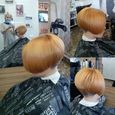 She had to take pictures of his newly dyed blonde, bob with a shaved nape, all Jim could do was stare down in humiliation. Short Wedge Hairstyles, Girls Short Haircuts, Cool Haircuts, Short Stacked Bobs, Short Bobs, Short Hair Cuts, Short Hair Styles, Clipper Cut, Shaved Nape