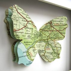 I love this idea and am thinking about getting one of Boston, a favorite city! Butterfly Crafts, Butterfly Art, Map Crafts, Book Crafts, Map Projects, Map Globe, Old Maps, Vintage Maps, Cartography