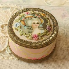 Exquisite French Powder Box Antique Ribbon