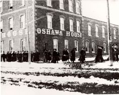 Bishop Bethune Girls, 1895 - This photo shows a row of girls, identified as Bishop Bethune students, walking in pairs east on King Street with the Oshawa House hotel in the background. The Row, Street, City, Gallery, Girls, Students, Ships, Walking, House