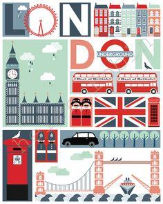 Quirky London Illustrative Print, 8x10 Poster.  via Etsy.
