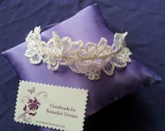 Lace and beaded bridal headpiece