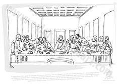 da Vinci. The Last Supper. Coloring page and lesson plan ... Da Vinci Last Supper Coloring Pages
