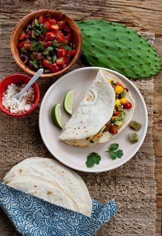 A vegan Cinco de Mayo recipe – nopales fajitas with mango & avocado.  Yes, this involves cooking cactus paddles!