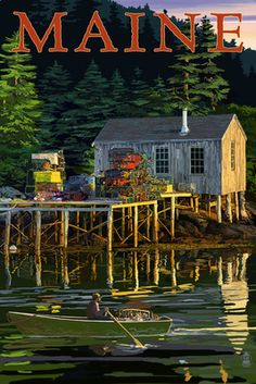 Acadia National Park, Maine - Lobster Shack - Lantern Press Artwork (Art Print Available), Multi National Park Posters, National Parks, Lobster Shack, Poster Art, Pub, Acadia National Park, Prince Edward Island, Stock Art, Vintage Travel Posters