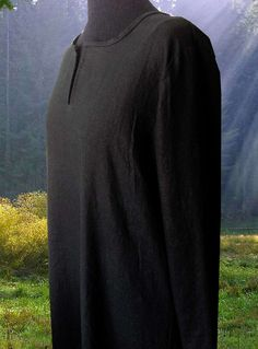 Unisex Natural Black Cotton Pagan Ritual Robe by WestCoastWitch