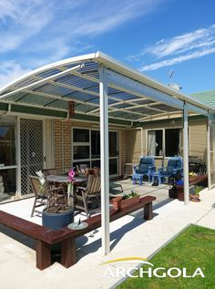Looking to extend your living space? Add an Archgola to your home and it's like adding a new room, for a fraction of the price. Archgola awnings are custom-made to your style and budget. Customise your Archgola awning design, frame colours and roof tints, to achieve the shade and shelter you're looking for. Call us now on 0508 272 446 for a FREE measure & quote. Outdoor Areas, Outdoor Structures, Outdoor Awnings, Roof Shapes, Outdoor Shelters, Outdoor Shade, New Room, Living Spaces, Pergola